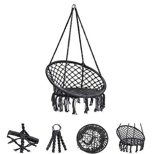FXQIN Hängesessel zum Aufhängen, inkl. bequemes Sitzkissen, max. 120 kg belastbar, für draußen und drinnen geeignet, Kinderschaukeln für den Garten, 80 * 60 * 120 cm