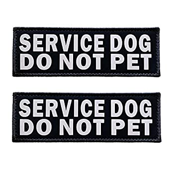 JUJUPUPS Black Reflective Dog Patches 2 Pack Service Dog ,in Training, DO NOT PET Tags with Hook and Loop Patches for Vests and Harnesses  Service Dog DO NOT PET 6x2 inch
