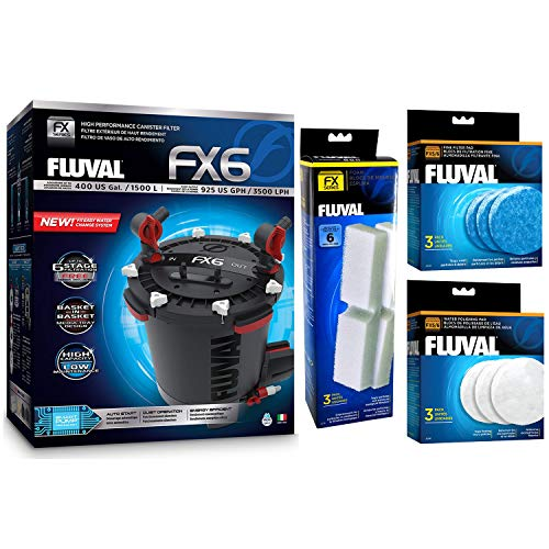 Fluval FX6 A219 Canister Filter w/Foam,Filter Pad and Polishing Pad