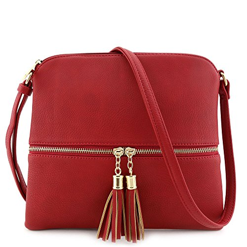 Lightweight Medium Crossbody Bag with Tassel Red