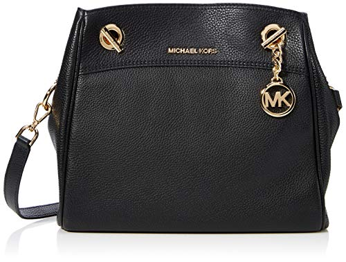 Durable and soft black leather gold-tone hardware, logo accent, exterior pocket Interior design details: fabric lining, interior pockets Measures 11.5in wide x 9in high x 2in deep Top handle drops 10in