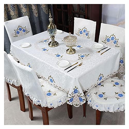 Fundas de Sillas de Comedor Cubierta de silla de mesa de mesa de mesa clásica de la vendimia, mantel rectangular bordado flor para hotel, comedor, banquete de bodas Protectoras para Sillas