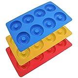 YuCool - Moldes de silicona antiadherentes para hornear (3 unidades, 8 cavidades, antiadherentes, resistentes al calor, para pasteles, galletas, magdalenas), color rojo, azul y amarillo