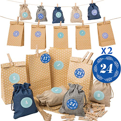 Calendario de Adviento Yangbaga Calendario Familiar de Adviento, 24Bolsa de Yute,Adviento Bolsa de Regalo Navidad Decoración
