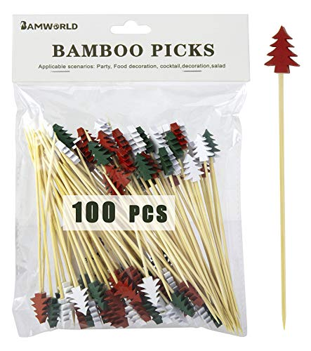 Bamboo Cocktail Picks Bamboo Skewers Food Picks 4.7 Inch Toothpicks with Handmade Design Skewers for Party Fruit and Food Snacks (Tree, 300)