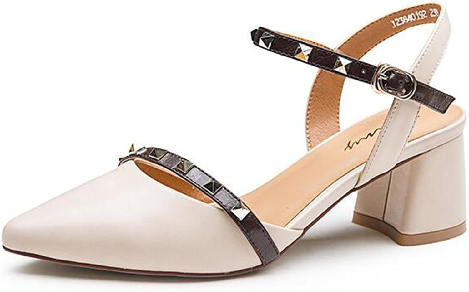 Thick with Sandals Female Summer Wild Rivet Buckle Belt shoes Pointed Commuter High Heel Sandals Female