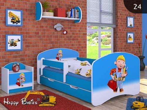 Kinderbett mit Matratze und Bettkasten für Jungen (160x80 cm, Bob der Baumeister) ! (160x80)