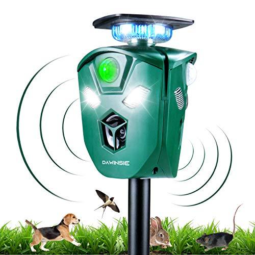 DAWINSIE Ultraschallabwehr Katzenschreck, 360° Tiervertreiber Ultraschall Solar Blitz Frequenz 15-60 kHz mit 2200 mAh Lithium Battery und Bewegungsmelder Wasserdicht IP44 für Katzen, Vögel,Waschbären