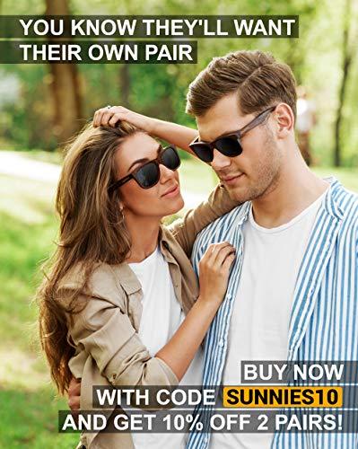 Wayfarer Polarized Sunglasses For Men – Wood Temple 100% UV Blocking Lenses + Case