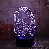 3D Luz De Noche Led Luz de Noche Tapones para los oídos para hombres, mujeres, niños, niñas, regalo Con interfaz USB, cambio de color colorido