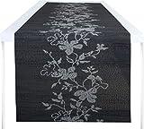 40 cm x 150 cm Tischläufer/Tischdecke/Mitteldecke/Tischdekoration/Tischband mit bunten Blumen Motiven Farbe Floral Grau Größe 150 cm