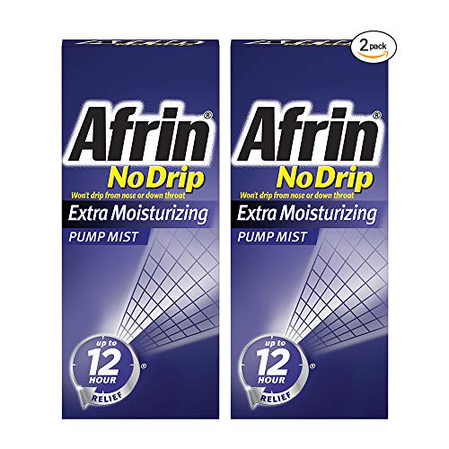 Afrin No Drip Extra Moisturizing Pump Nasal Mist Twin Pack, Congestion Relief, 2 ct, 1.01 Ounce