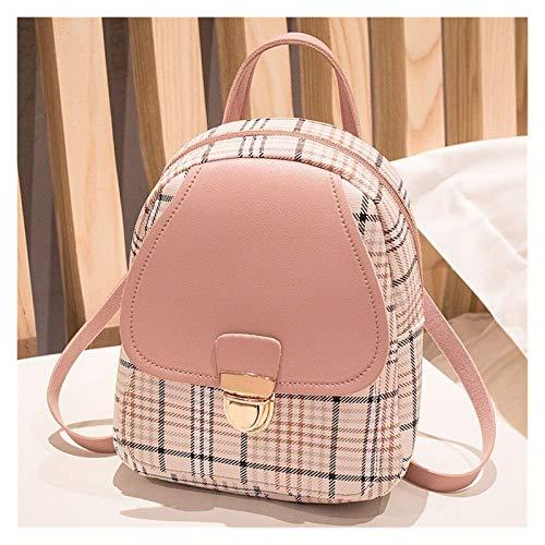 LUCHAO Mini Backpack Crossbody Bag For Teenage Girl Plaid Women Shoulder Phone Purse Korean Style Female Bagpack (Color : PINK women backpack)