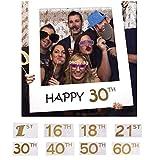 AMOYER Felice 1 ° 16 ° 18 ° 21 ° 30 ° 40 ° 50 ° 60 ° di Carta di DIY Picture Frame Ritagli Photo Booth Props per la Decorazione di Festa di Compleanno (18 °)