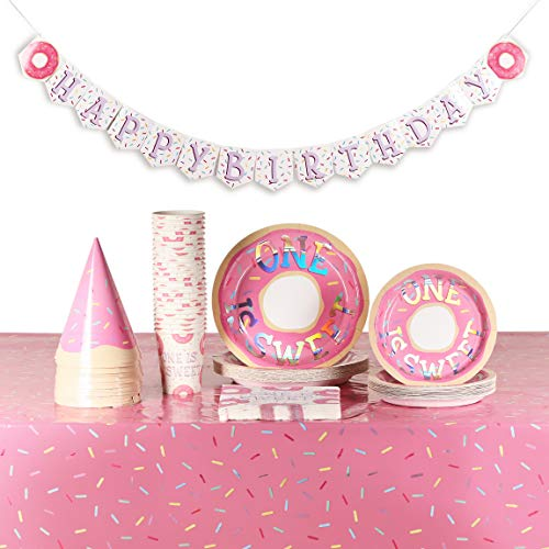 Donut 1st Birthday Party Pack with Dinnerware, One Is Sweet (Serves 24, 123 Pieces)