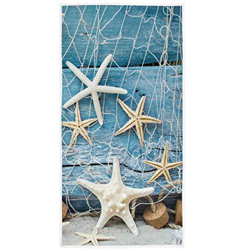 Starfish Seashell Tropical Beach Hand Towels 16x30 in Sea Ocean Marine Nautical Bathroom Towel Soft Absorbent Wooden Summer Small Bath Towel Kitchen Dish Guest Towel Home Bathroom Decorations