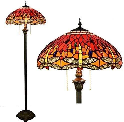 Dekorative Stehlampe Magische Beleuchtungsoptionen Moderne Stehlampe Raumleuchte Tiffany-Stil Boden-Leselampe 2-flammig Rote Libelle Kristallperlen Buntglas Standleuchten mit Pul Suit Fo