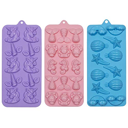 Webake Candy Molds Silicone Mermaid Chocolate Mold, Fondant Molds for Cupcake Decorations, Resin Crayon Including Mermaid Tail, Seahorse, Rainbow, Air Balloon, Pack of 3