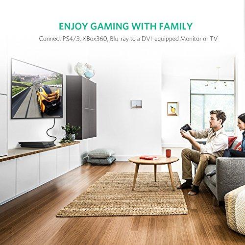 UGREEN HDMI DVI Kabel DVI D 24+1 auf HDMI mit 1200P, High Speed DVI auf HDMI bidirektional Konverter unterstützt 3D, Full HD vergoldete Kontakte, Schwarz (2m)