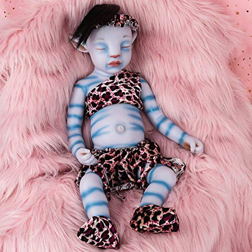 Vollence 20 inch Avatar Sleeping Full Silicone Baby Doll with Hair,Not Vinyl Dolls,Real Reborn Baby Doll, Realistic Lifelike Silicone Baby Doll ,Newborn Baby Doll - Girl