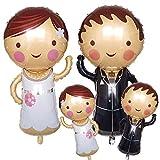 Ouceanwin 4 piezas Globo Nupcial Pareja Globo de Aluminio Novia Novio, Globo Mr and Mrs Decoración de Boda Globo de Helio de Boda para Compromiso Decoración del día de San Valentín Fiesta de boda