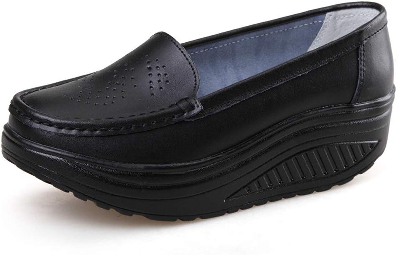Wallhewb Fashion Female Soft Platform Loafers Breathable shoes Women Casual Wedges shoes Leg Length Leg Length Fashion Girl Elegant Reasing Girl Rubber Sole Black 6.5 M US shoes