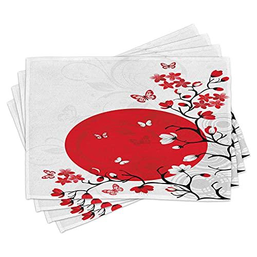 ABAKUHAUS Japonais Lot de Sets de Table en 4 pièces, Cerise Sakura Arbres, Tissu Lavable pour Salle à Manger et Cuisine, 30 cm x 45 cm, Vermilion Noir Blanc