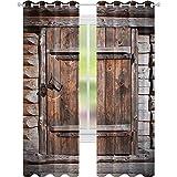 Cortinas opacas para dormitorio, puerta de madera rústica de granero viejo en casa rural, pueblo envejecido, imagen de vida rural, 52 x 108, cortina opaca para sala de estar, color marrón