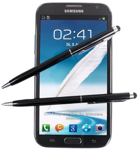2x SCHWARZ tomaxx Stylus Pen - Eingabestift + Kugelschreiber für Asus PadFone 2, HTC J Butterfly, ZTE Kis Plus, HTC One X+, LG Optimus G E970, LG Nexus E960, LG Nexus E960, Apple iPad mini Wi-Fi, Handy mit Touchscreen Display…