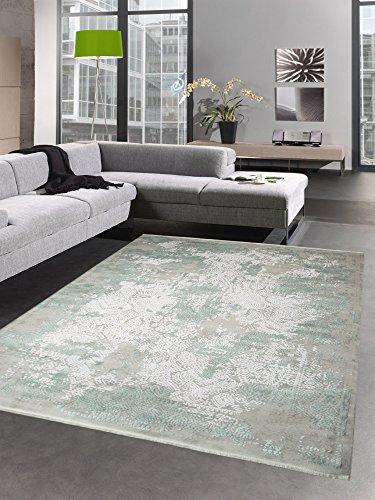 Carpetia Moderner Teppich Wollteppich Vintage Used-Look mit Fransen Mint grün Creme beige Größe...