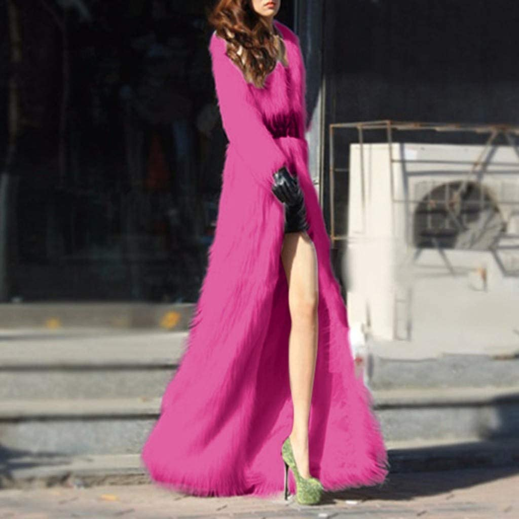 Women's Faux Fur Coat, Kangma Sherpa Long Sleeve Long Fleece Jacket Shaggy Outwear