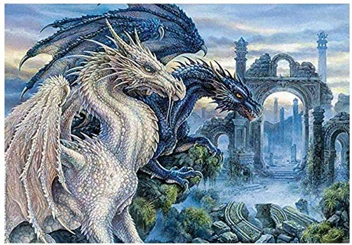 Wdsjxd DIY Oil Painting Big Dragon Color By Numbers DIY Paintings Acrylic Paint By Numbers Painting Kit Home Wall Living Room Bedroom Decoration 40 × 50cm Frameless