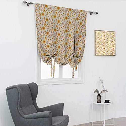 GugeABC Abat-jour de fenêtre romaine floral - Composition de gribouillis avec inspirations vintage - Motif d'été abstrait - Ballon isotherme réglable - Jaune vermillon - 76,2 x 162,6 cm