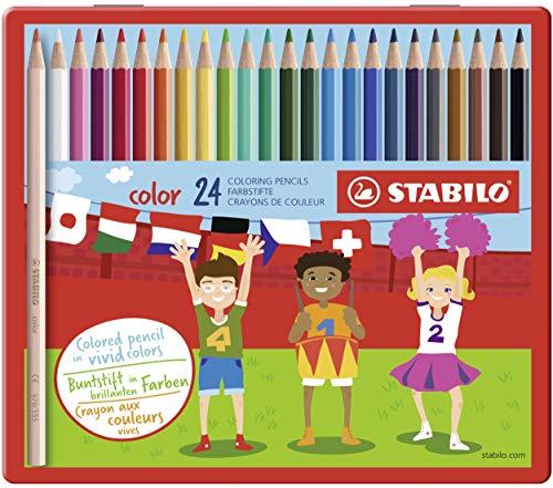 Buntstift - STABILO color - 24er Metalletui - mit 24 verschiedenen Farben