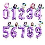 JSJJARF Globos 2 Piezas de 40 Pulgadas de Aluminio Partido Globos púrpura Digital Globo Mini Sirena 0-9 decoración de Feliz cumpleaños (Color : 3, Shape : 2)