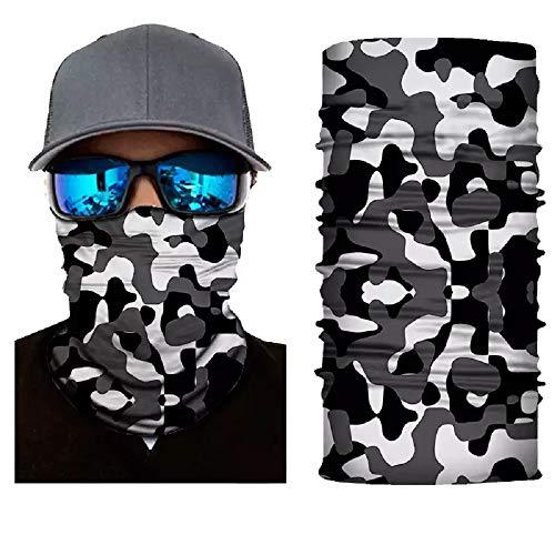 Camo Neck Gaiter Face Mask Bandanna Balaclava - Men Women (Black/White Camo)