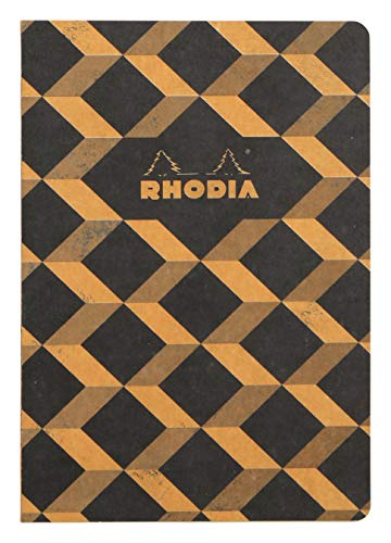 Rhodia Heritage Raw Binding Notebook, A5, Square ruling - Black Escher