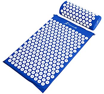 ProsourceFit Acupressure Mat and Pillow Set for Back/Neck Pain Relief and Muscle Relaxation Blue