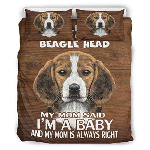Baby Beagle Head All Season Microfiber Comforter Sets Machine Washable Bedding Duvet Cover 3 Piece Set white 66x90 inch