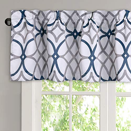 H.VERSAILTEX Blackout Curtain Valances for Kitchen/Bathroom - Thermal Insulated Window Valances for Living Room/Bedroom Rod Pocket Short Curtain 1 Panel, 52x18 inch, Geo in Dark Denim and Grey