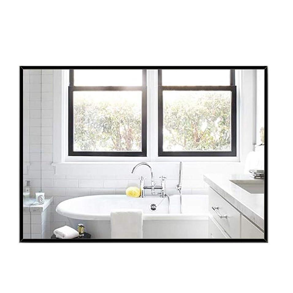 ジュラシックパーク偶然の促進する長方形の壁ミラー、安全防爆ガラスパネル、HDバスルーム化粧鏡シンプルなリビングルーム装飾ミラー、黒、2サイズ