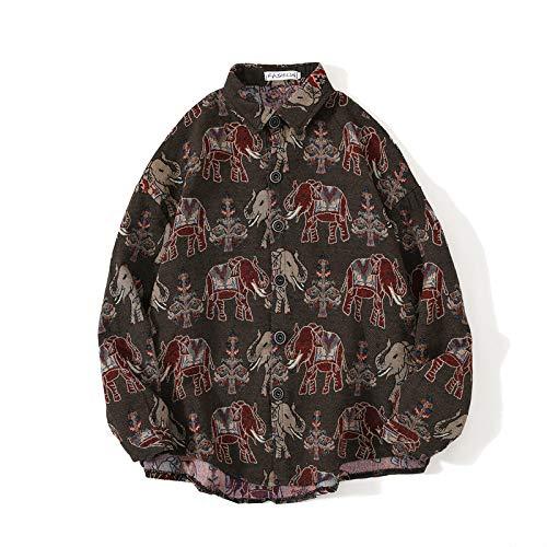 Camisa de Manga Larga con Estampado étnico Retro para Hombre, Solapa de Moda, Chaqueta de Camisa cálida básica clásica Relajada de un Solo Pecho XL