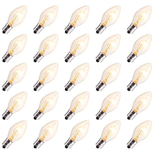 25 Pack C7 Christmas Replacement Light Bulbs, C7 Clear Incandescent Bulb for Christmas String Light, E12 Candelabra Base, 5 Watt, Clear
