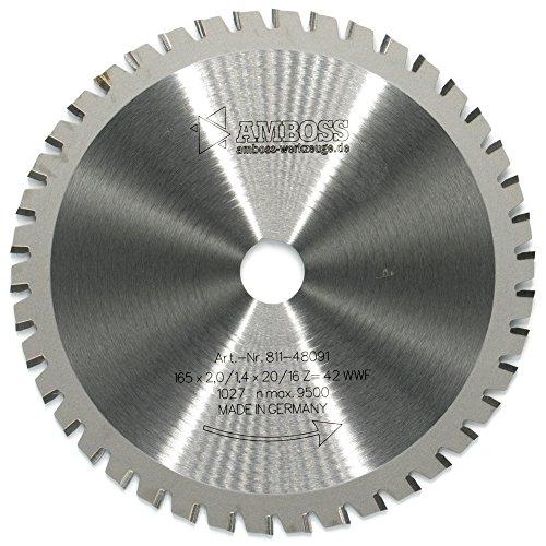 AMBOSS Werkzeuge Universal Sägeblatt - 165 x 20/16 mm (42 Zähne) - Zum Sägen von Holz, Metall & Kunststoff - Hochwertiges Multifunktions-Kreissägeblatt aus HM