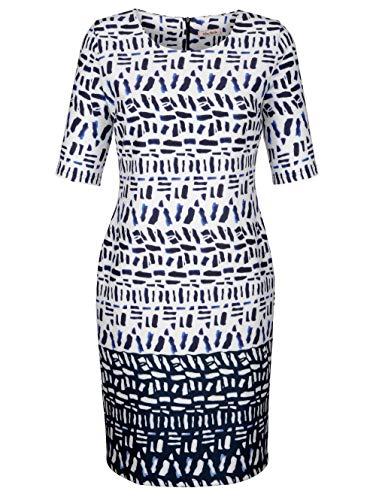 Alba Moda Damen Figurumspielendes Knielang Kleid Halbarm in Weiß
