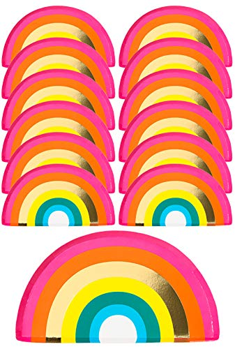 Talking Tables RAIN Pack of 12 (24cm) Shaped Rainbow Plates with FOIL Fun Birthday Cake Party Table Decorations, Paper Disposable, RBPLATES