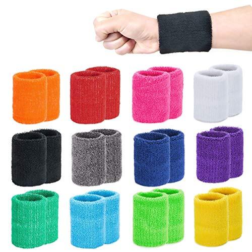 INHEMING 12 Paar Absorbierende Schweißbänder für Tennis Squash Badminton Turnhalle Basketball Unisex Adult (Mischen)