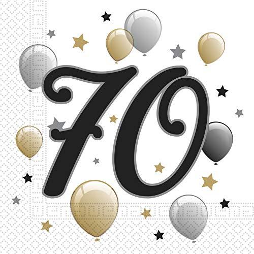 """Procos Lot de 20 Serviettes en Papier imprimées """"70 ans"""" étoiles et ballons 33 x 33 cm 10232063 Multicolore"""
