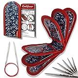 Knitfever® Juego de agujas circulares con funda (10 tamaños de agujas de tejer de metal), 80 cm, acero inoxidable, kit de punto como idea de regalo.