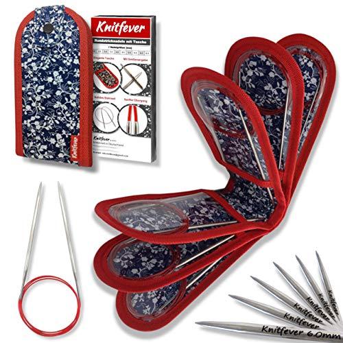 Knitfever® Kit d'aiguilles à tricoter circulaires avec sac (10 aiguilles à tricoter) – Kit de tricot comme idée cadeau I Kit d'aiguilles à tricoter circulaires pour tricoter, tricot, rangement